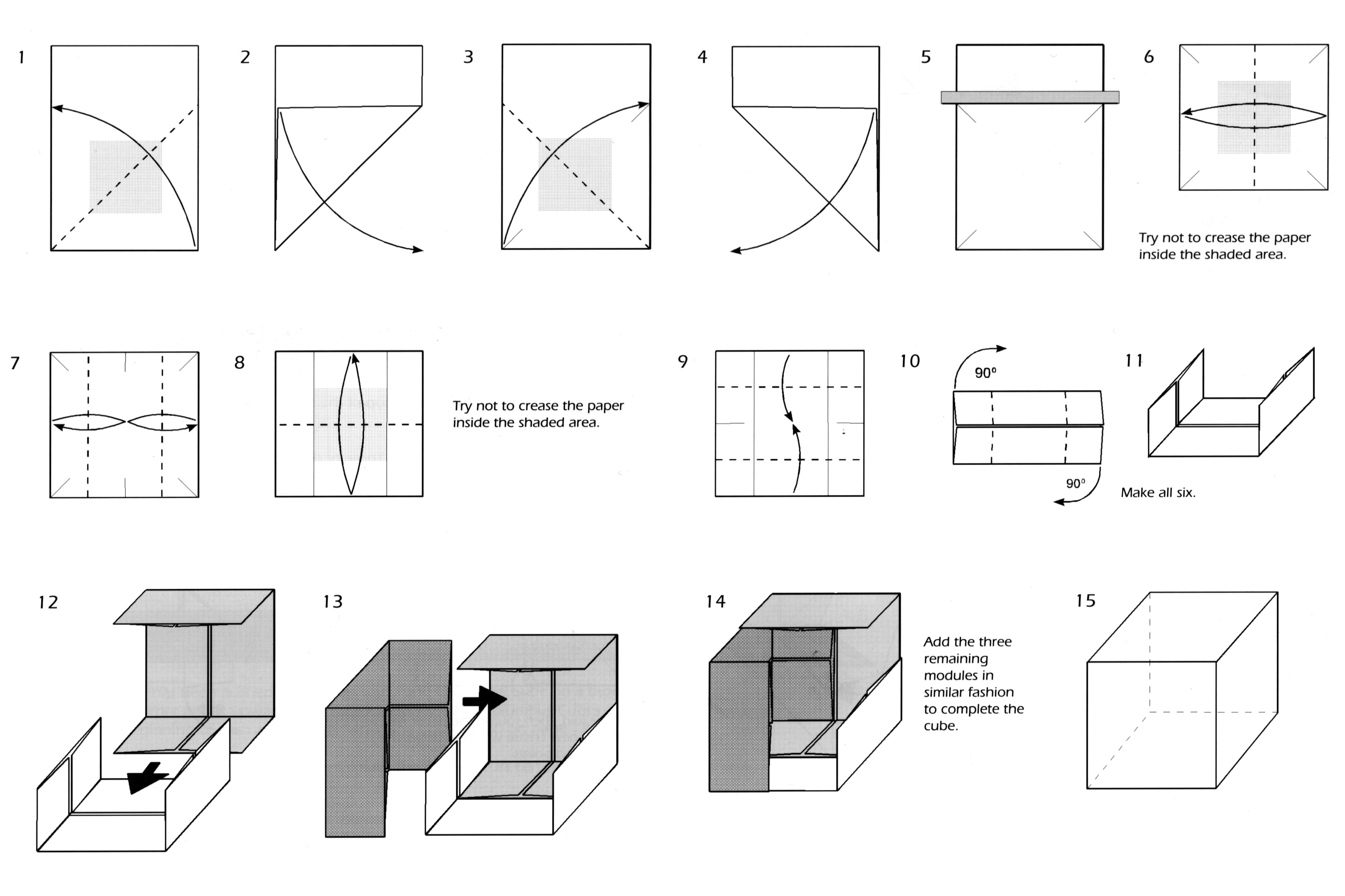 Easy modular origami cube folding instructions how to for Net making instructions